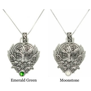 Carolina Glamour Collection Sterling Silver Moonstone Green Man Trinity Necklace