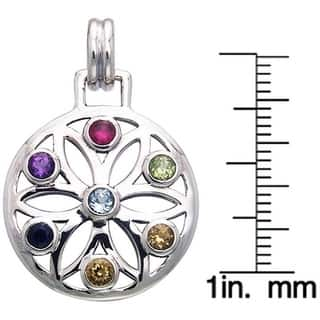 Sterling Silver Gemstone Chakra Lotus Necklace|https://ak1.ostkcdn.com/images/products/4311040/P12287171.jpg?impolicy=medium