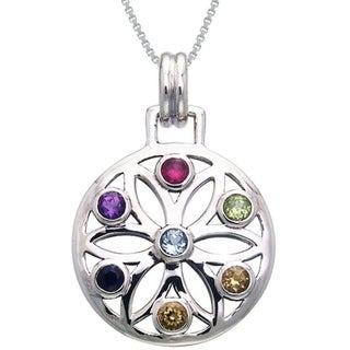 Sterling Silver Gemstone Chakra Lotus Necklace