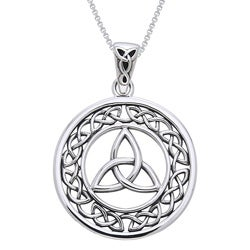 Carolina Glamour Collection Sterling Silver Celtic Border Trinity Knot Necklace