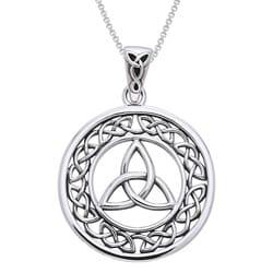 Carolina Glamour Collection Sterling Silver Celtic Border Trinity Knot Necklace