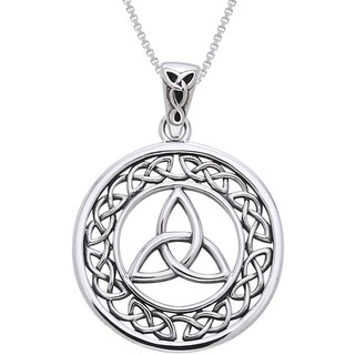 Sterling Silver Celtic Border Trinity Knot Necklace