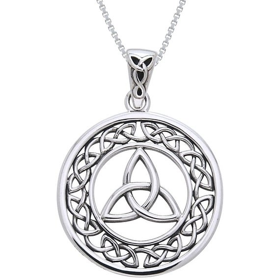 Sterling silver celtic border trinity knot necklace free sterling silver celtic border trinity knot necklace free shipping on orders over 45 overstock 12287174 mozeypictures Image collections