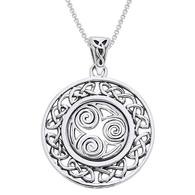 Carolina Glamour Collection Sterling Silver Celtic Border Triskelion Knot Necklace - Thumbnail 0
