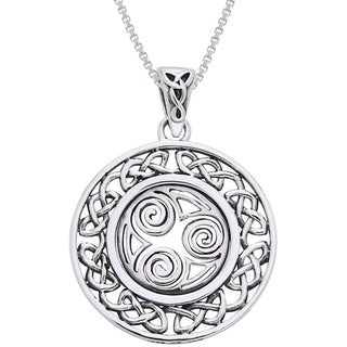 Sterling Silver Celtic Border Triskelion Knot Necklace