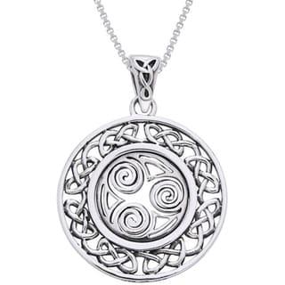 Sterling Silver Celtic Border Triskelion Knot Necklace