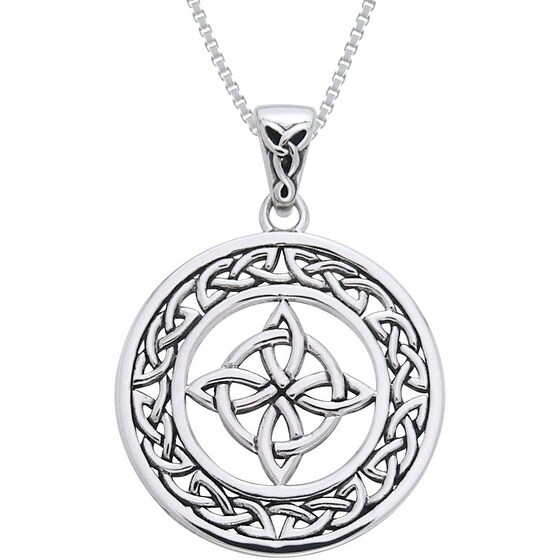 Sterling Silver Celtic Good Luck Knot Necklace