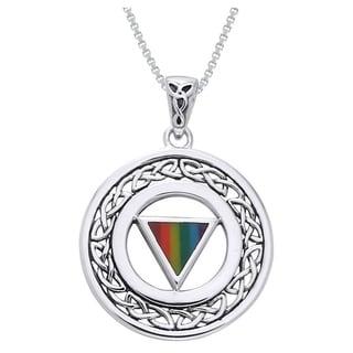 Sterling Silver Pride Celtic Border Necklace