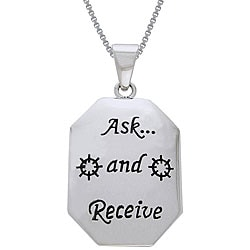 Carolina Glamour Collection Sterling Silver Ask and Receive Tag Necklace
