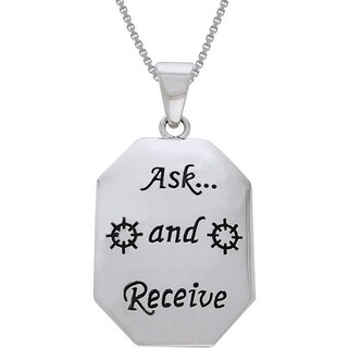 Sterling Silver Ask and Receive Tag Necklace