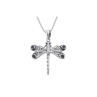 Sterling Silver Amethyst Celtic Dragonfly Necklace