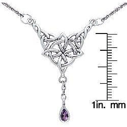 Carolina Glamour Collection Sterling Silver Amethyst Celtic Luck Knot Necklace - Thumbnail 2
