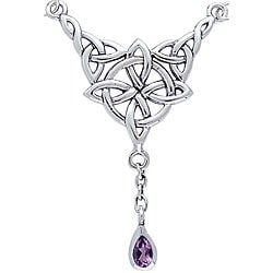 Carolina Glamour Collection Sterling Silver Amethyst Celtic Luck Knot Necklace
