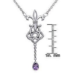 Carolina Glamour Collection Sterling Silver Amethyst Fleur de Lis Celtic Knot Necklace - Thumbnail 2