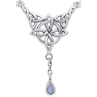 Sterling Silver Moonstone Celtic Luck Knot Necklace