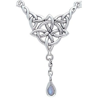 Carolina Glamour Collection Sterling Silver Moonstone Celtic Luck Knot Necklace