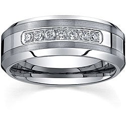 Men's Tungsten Carbide 1/5ct TDW Diamond Comfort-fit Band By Ever One (8 mm)