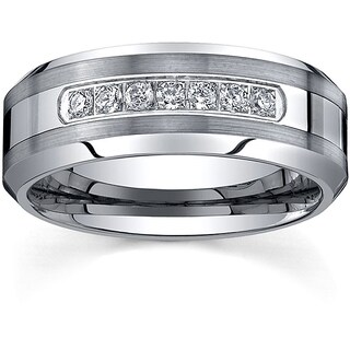 Ever One Men's Tungsten Carbide 1/5ct TDW Diamond Comfort-fit Band (8 mm) (More options available)