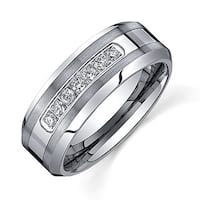 Ever One Men's Tungsten Carbide 1/5ct TDW Diamond Comfort-fit Band (8 mm)