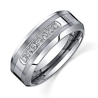 ever one mens tungsten carbide 15ct tdw diamond comfort fit band 8 - Black Mens Wedding Ring