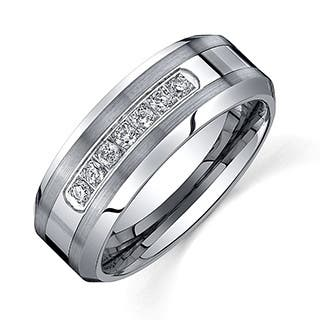 ever one mens tungsten carbide 15ct tdw diamond comfort fit band 8 - Black Mens Wedding Rings
