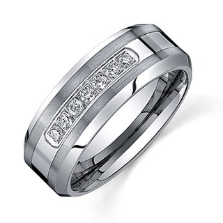 Amazing Ever One Menu0027s Tungsten Carbide 1/5ct TDW Diamond Comfort Fit Band (8