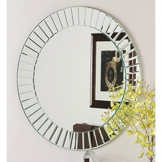 Decor Wonderland Glow Glass and Metal 27-inch Round Modern Frameless Wall Mirror