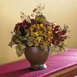 Silk Autumn Hydrangea and Round Vase - Thumbnail 1