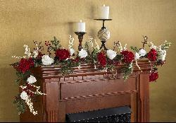 Hydrangea and White Rose 72-inch Garland - Thumbnail 1