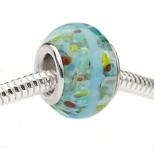 Beadaholique Glass Lampwork 13-mm European Blue Confetti Charm Beads (Set of 2)