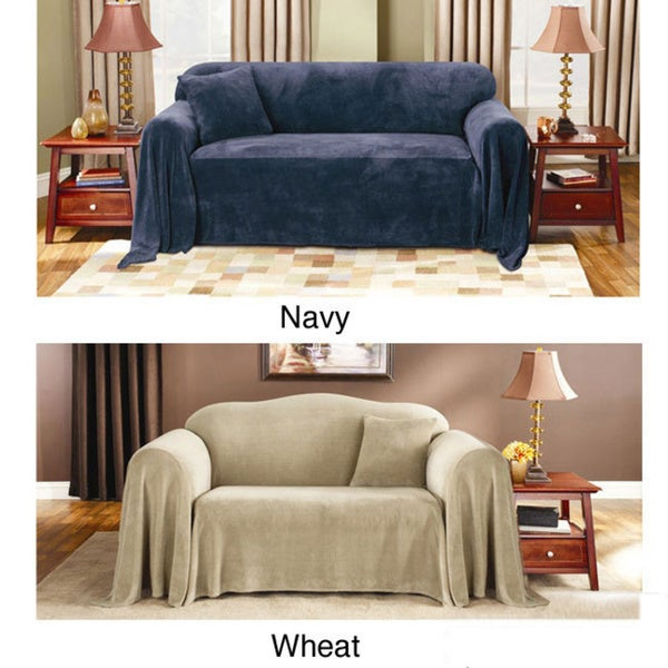 Shop Sure Fit Plush Sofa Throw Cover Free Shipping Today
