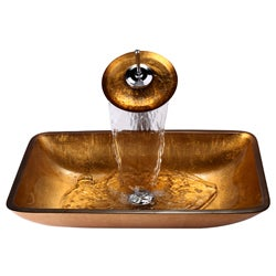KRAUS Rectangular Glass Vessel Sink in Gold with Waterfall Faucet in Satin Nickel - Thumbnail 1