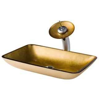 Kraus 3-in-1 Bathroom Set C-GVR-210-RE-10 Golden Pearl Glass Vessel Sink, Waterfall Faucet, Pop Up Drain