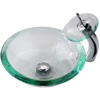 KRAUS 34 Mm Thick Glass Vessel Sink In Clear With Waterfall Faucet