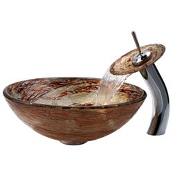 KRAUS Ares Glass Vessel Sink in Gold with Single Hole Single-Handle Waterfall Faucet - Thumbnail 1