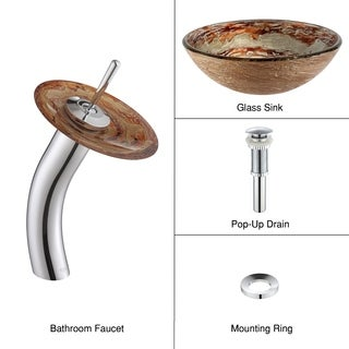 Kraus 4-in-1 Bathroom Set C-GV-651-12mm-10 Ares Glass Vessel Sink, Waterfall Faucet, Pop Up Drain, Mounting Ring