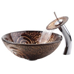 KRAUS Luna Glass Vessel Sink in Brown with Single Hole Single-Handle Waterfall Faucet in Chrome
