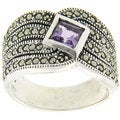 Dolce Giavonna Sterling Silver Purple Cubic Zirconia and Marcasite Ring