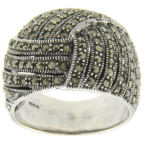 Dolce Giavonna Sterling Silver Marcasite Ring. Opens flyout.