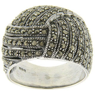 Dolce Giavonna Sterling Silver Marcasite Ring