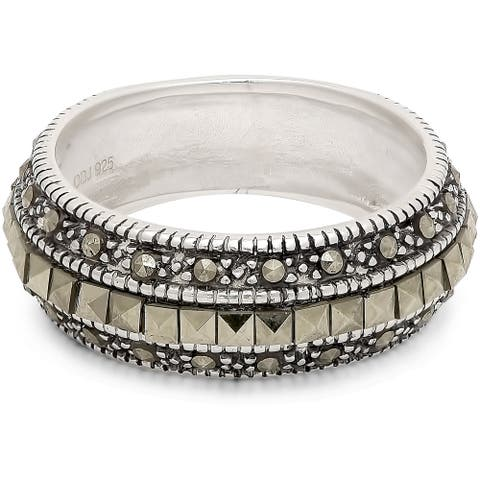 Dolce Giavonna Sterling Silver Marcasite Wedding Band - Green