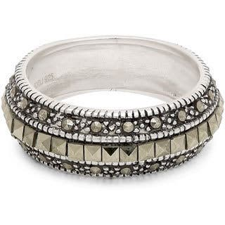 Dolce Giavonna Sterling Silver Marcasite Wedding Band - Green|https://ak1.ostkcdn.com/images/products/4317837/P12294587.jpg?impolicy=medium