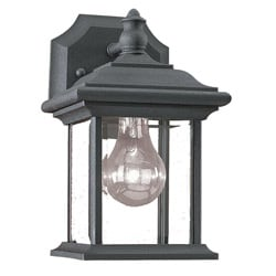Clear Beveled Glass Black Finish Outdoor Wall Lantern