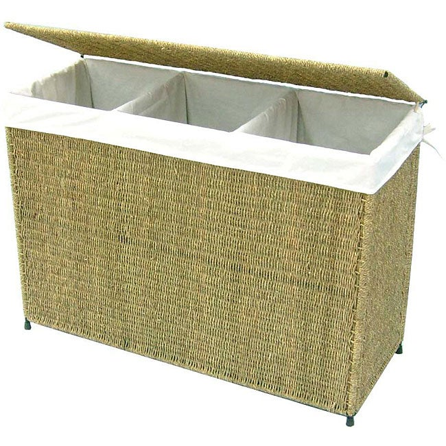 America Basket Company Woven Seagrass Lined 3-section Full-load Hamper - Thumbnail 0
