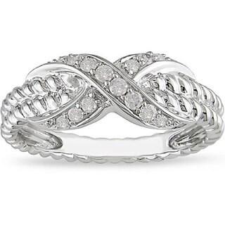 Miadora 10k White Gold 1/5ct TDW Diamond Ring