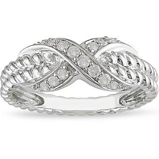Miadora 10k White Gold 1/5ct TDW Diamond Ring