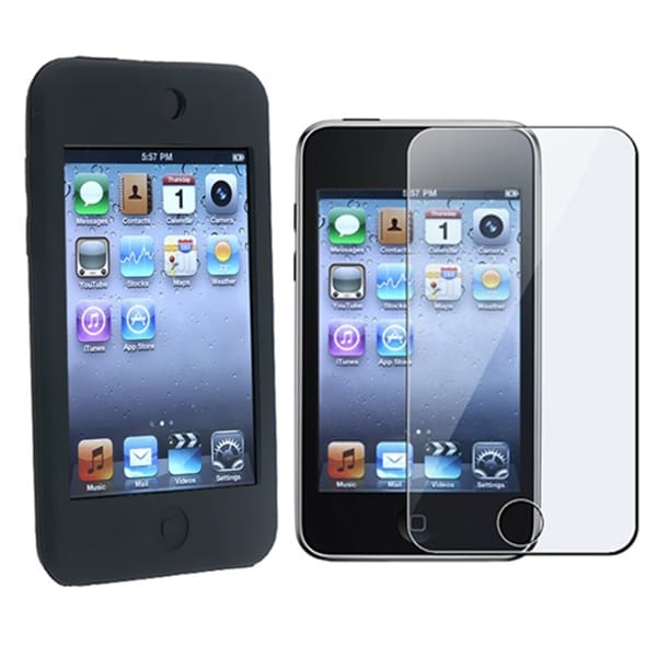 INSTEN Black Skin Case Cover and Screen Cover for iPod Touch 8GB/ 16GB/ 32GB