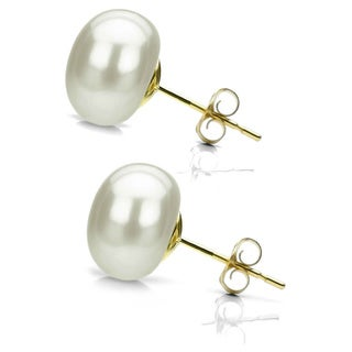DaVonna 14k Yellow Gold White FW Pearl Stud Earrings (10-11 mm)