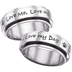 Stainless Steel 'Love Me, Love My Dog' Spinner Ring