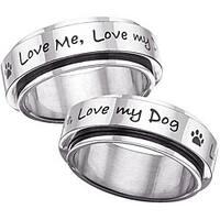 Stainless Steel 'Love Me, Love My Dog' Spinner Ring